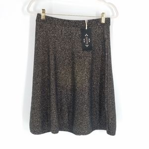 NWT Nanette Lepore Black Metallic A Line Skirt M